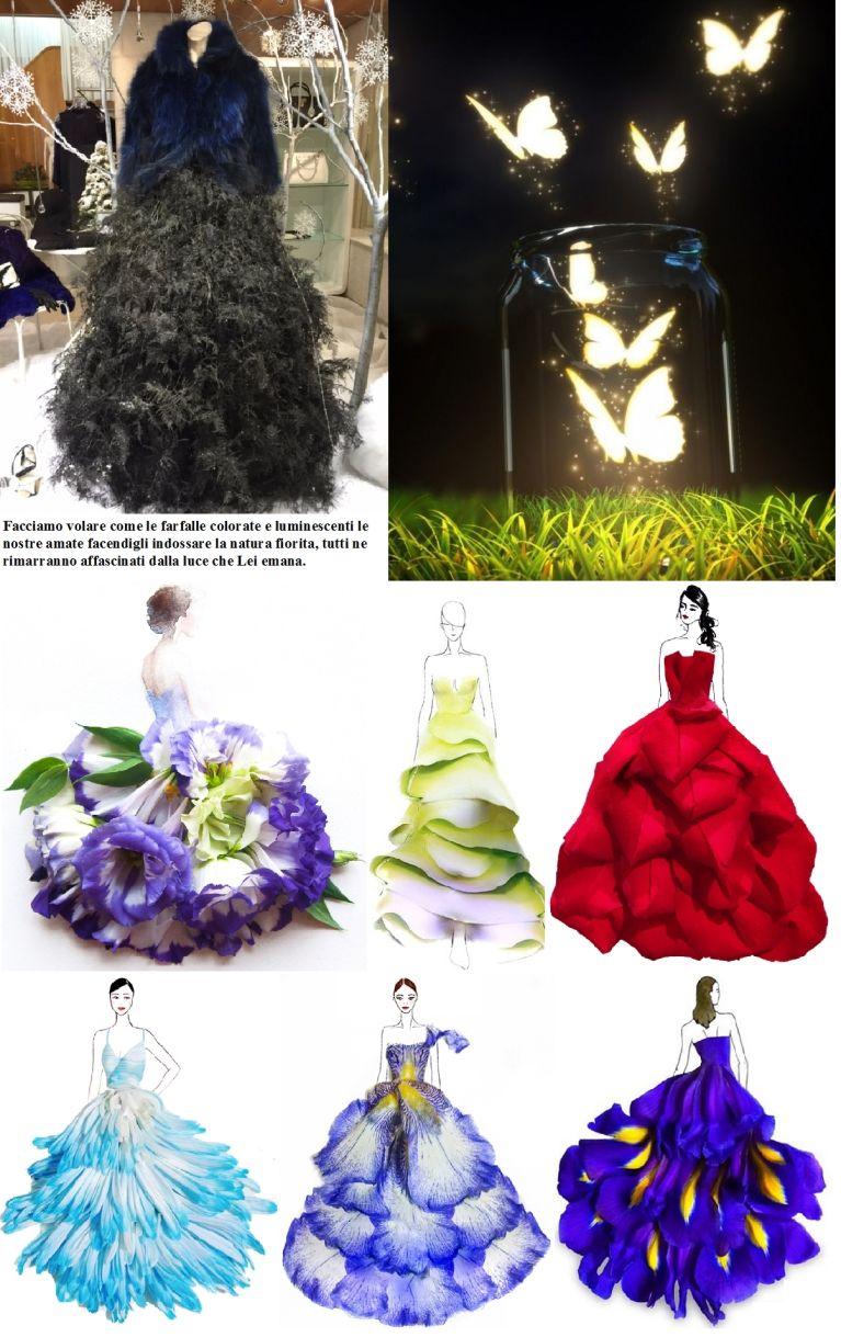 La natura ci aiuta a creare il bello, per rendere unica la tua amata. Moda, haute couture. Nature helps us to create beautiful, unique to make your loved one. Fashion, haute couture.