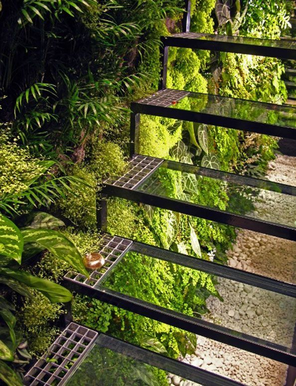 Stairs with green wall