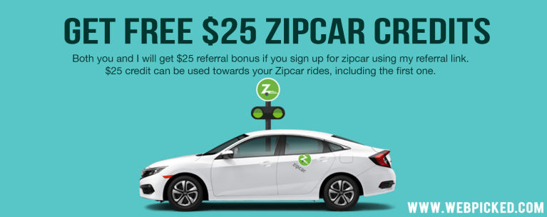 New users get $25 credits when they sign up using a referral link. Both the referrer and referee get $25 credits each, which can be applied towards Zipcar rides - including the first ride.