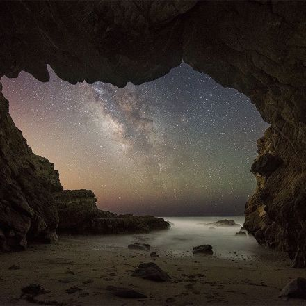 Milky Way from inside a Malibu sea cave
