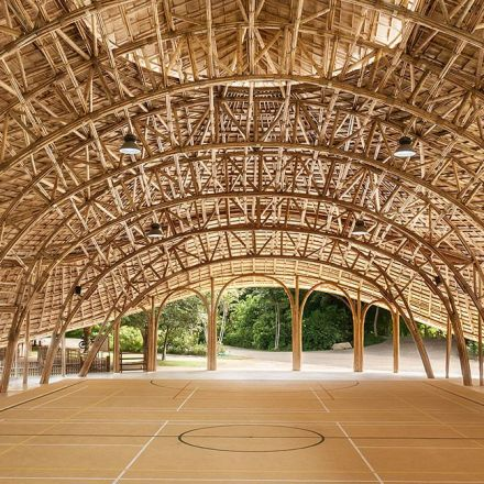 Chiangmai Life Architects builds bamboo sports hall in Thailand.