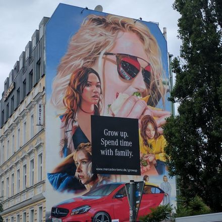 Painted wall for Mercedes advertising.