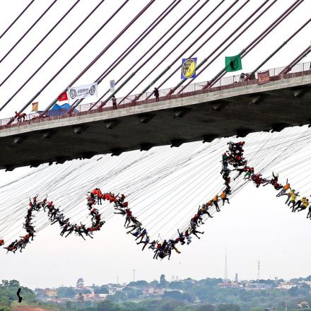 How 245 people jumped off a bridge at once.