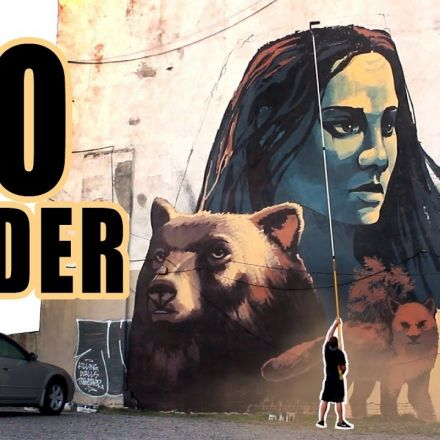 Huge street art mural with only a roller  - NYC