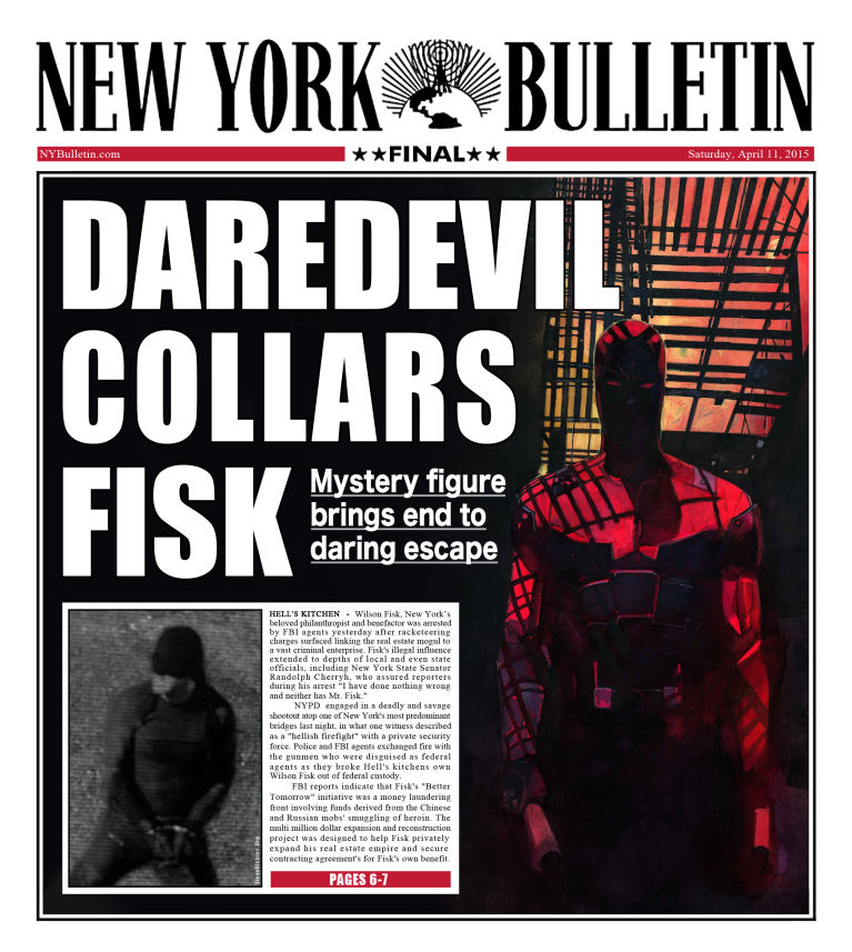 Image result for bulletin, daredevil, netflix