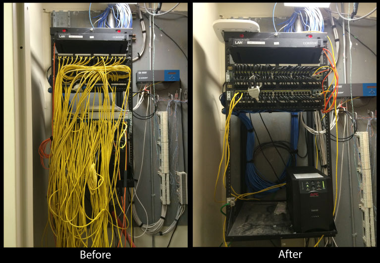 Re-cabling, before and after