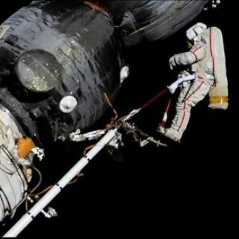 Space station astronauts on a spacewalk to investigate mystery hole