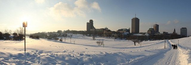 Panoramic of the Quebec City's Battlefields park in the winter