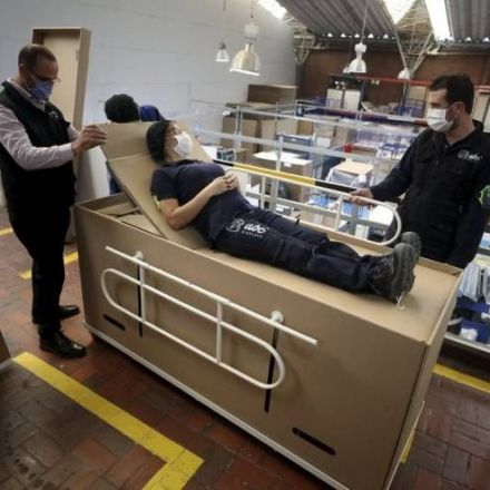 Colombian company creates hospital beds that can double as coffins