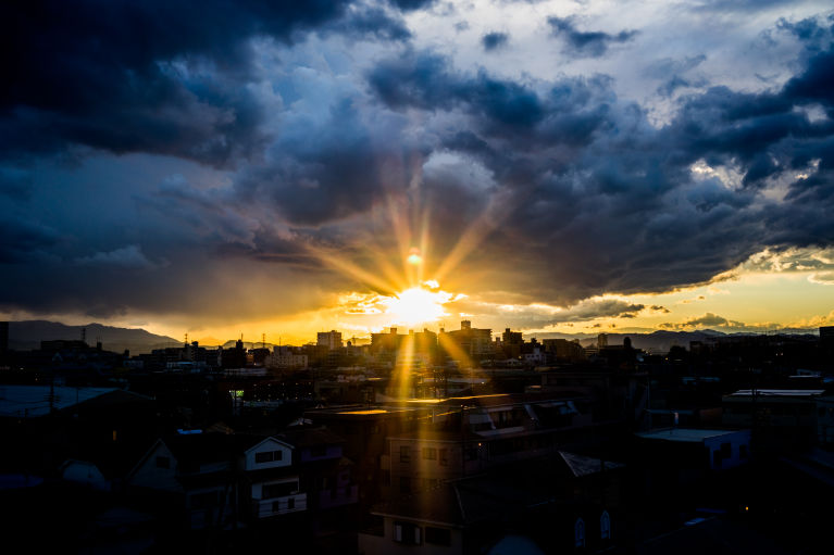 sunset again in japan 2015 winter.