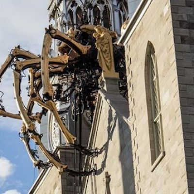 Canadian Catholics Outraged by Giant Robot Spider Climbing on Cathedral