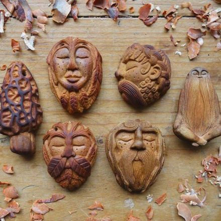 Waste Not, Want Not: Artist Carves Avocado Pits Into Tiny Forest Spirits