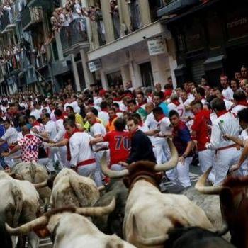 Three men gored in opening bull run in Pamplona