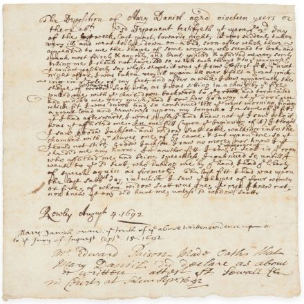 A Rare Deposition from the Salem Witch Trials Goes to Auction