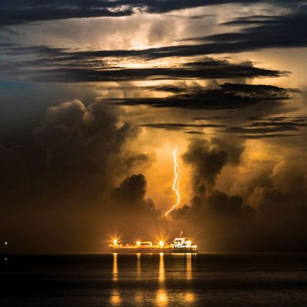 Lightning storms triggered by exhaust from cargo ships
