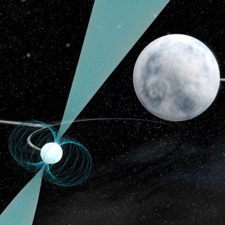 The cosmic dance of three dead stars could break relativity