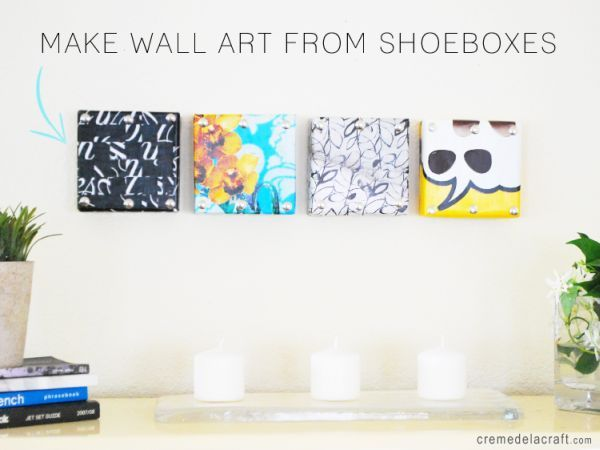 f you're creative, you can turn even the simplest of things into something beautiful. For example, using a few shoebox lids and some decorative paper you can make some lovely decorations for your wall. It's simple and it's a project that you can in a weekend with just the supplies you have in the house