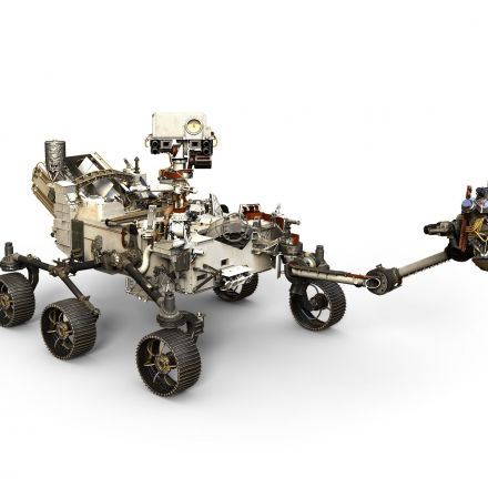 NASA's Mars 2020 rover rests on its own six wheels for the first time