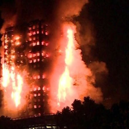 Fire engulfs Grenfell tower block in west London