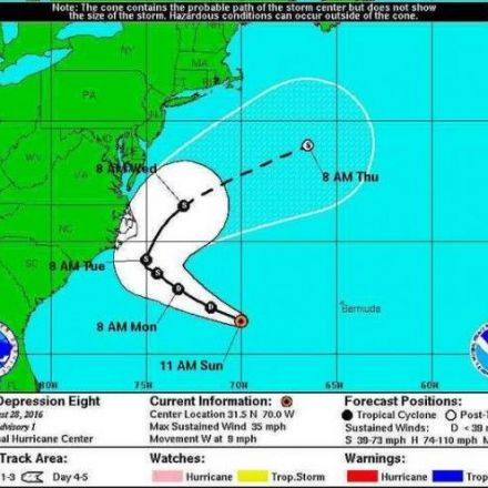 Tropical Depression 8 forms off North Carolina Coast Sunday