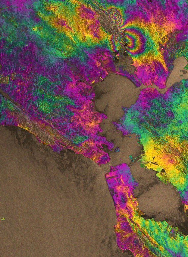 The interferogram covering the entire San Francisco Bay Area