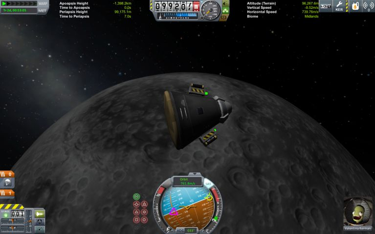 At the Mun, with no engine *and* a good chance of living!