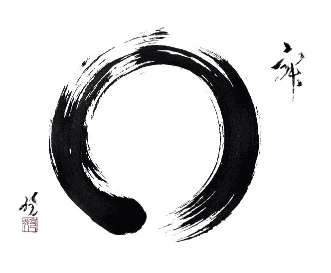 In Zen Buddhism, an ensō is a circle that is hand-drawn in one or two uninhibited brushstrokes, this spiritual practice of drawing ensō or writing Japanese calligraphy for self-realization is called hitsuzendō (way of the brush). Ensō exemplifies the various dimensions of the Japanese wabi-sabi.